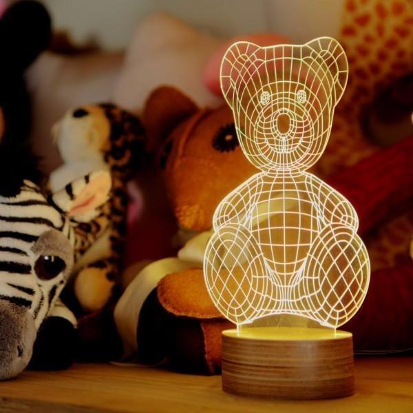 Teddy Bear Wire Lamp on Birch Wood
