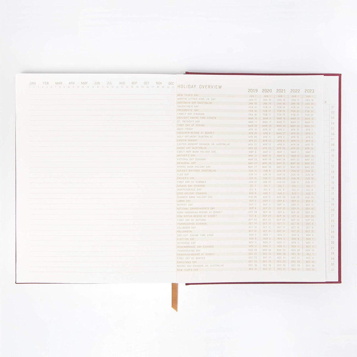 "Burgundy Linear Curves ""Thoughts"" Suede Cloth Ruled Planner Journal"