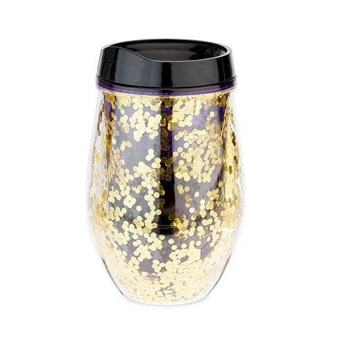 True Brands Water Bottles Violet Glitter Stemless Wine Tumbler