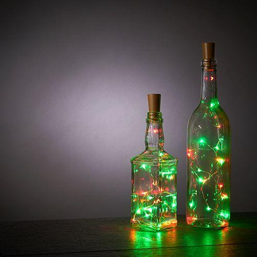 True Brands Lighting Green and Red Bottle String Lights - Set of 2