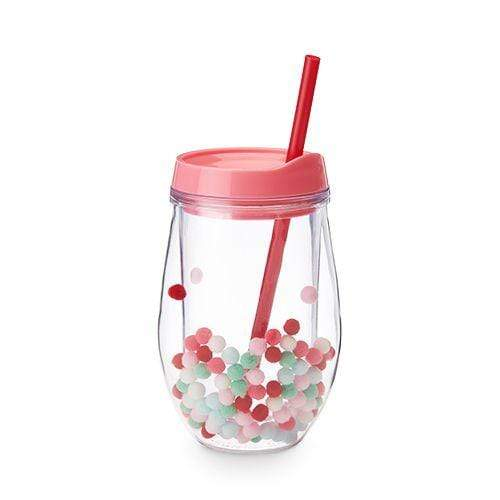 True Brands Water Bottles Retro Pom Stemless Wine Tumbler