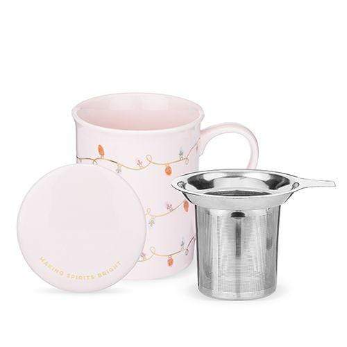 True Brands Tea Infusers Annette Lights Pink Ceramic Tea Mug & Infuser