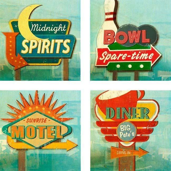 Retro Signs Coasters - Set Of 4