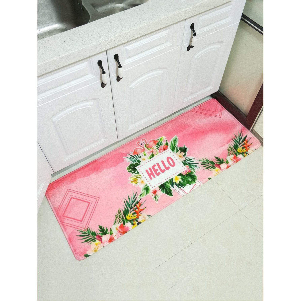 Pink Flamingo Print Kitchen Floor Mat