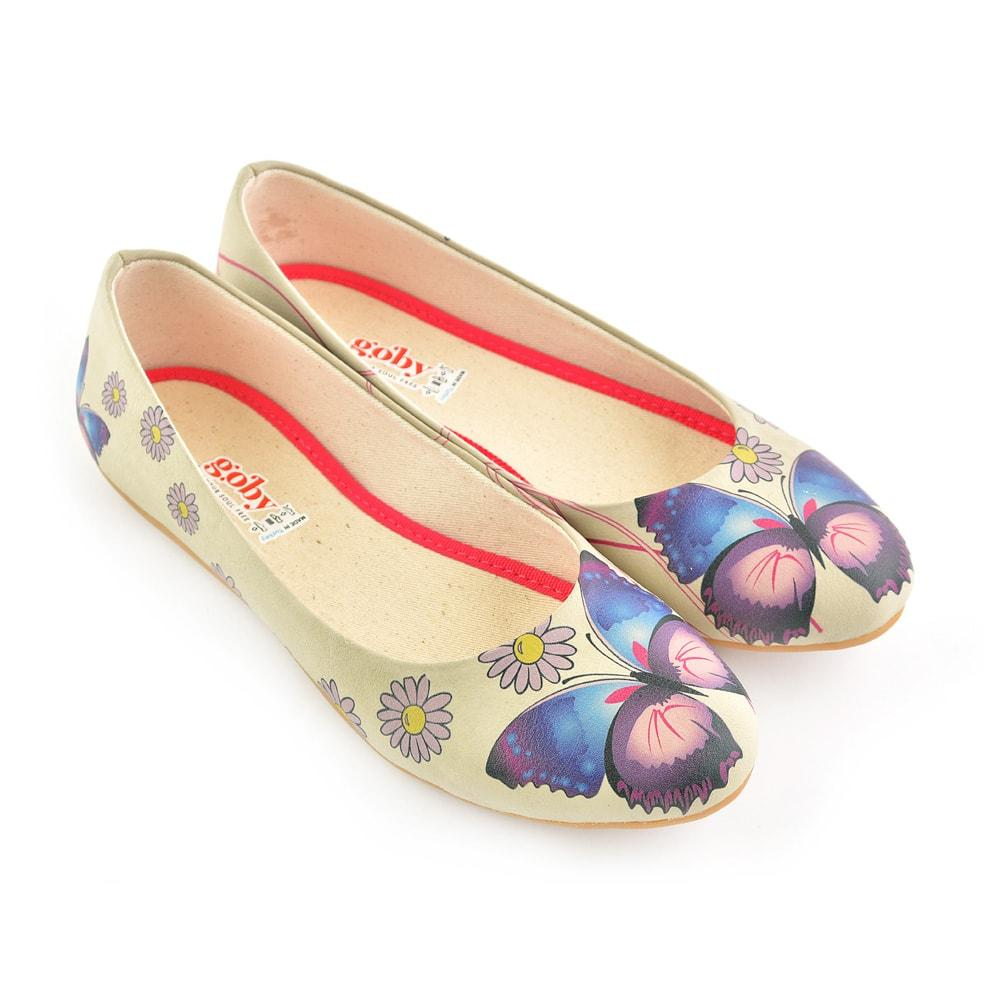 GOBY Daisy and Butterfly Ballerinas Shoes 1028