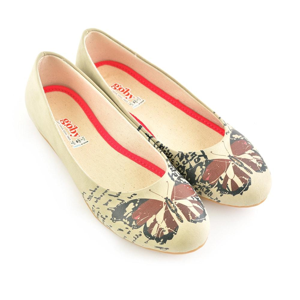 GOBY Bordeaux Butterfly Ballerinas Shoes 1060