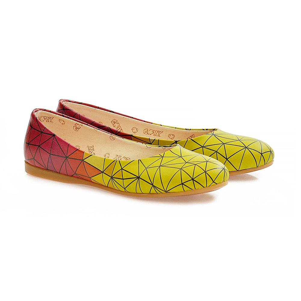 GOBY Yellow Red Prismas Ballerinas Shoes 1098