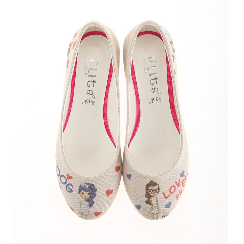 Cute Girls and Dogs Ballerinas Shoes 1111 (1405794058336)