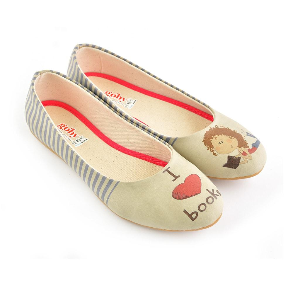 GOBY I Love Books Ballerinas Shoes 2033