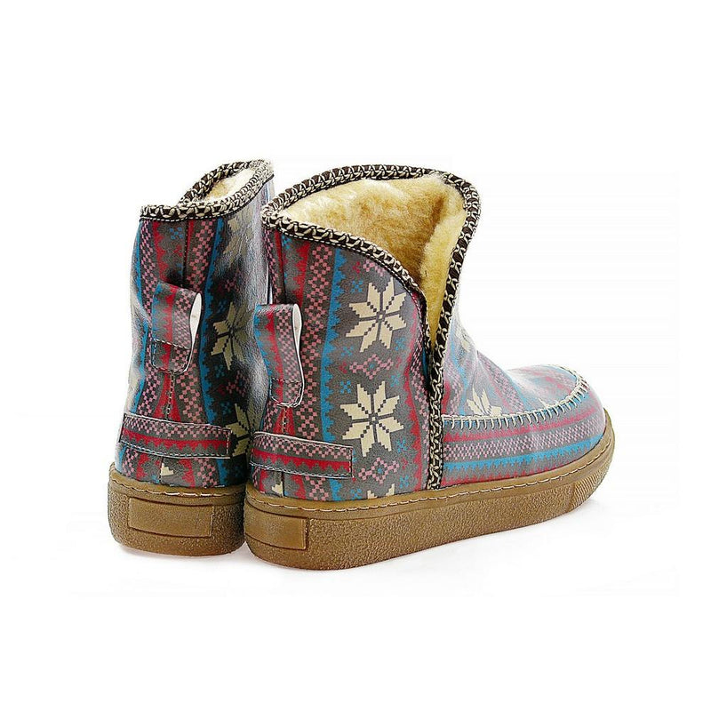 Dark Blue & White Stars & Red Short Furry Boots ACAP102 (1329354211424)