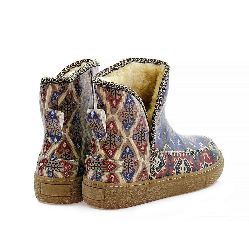 Red & Blue & Black Carpet Short Furry Boots ACAP103 (1329354244192)