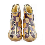 Colorful Squares Short Furry Boots ACAP110 - Goby ALASKA Short Furry Boots