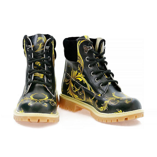 Black & Yellow Waves Short Boots ACAT102, Goby, ALASKA Short Boots