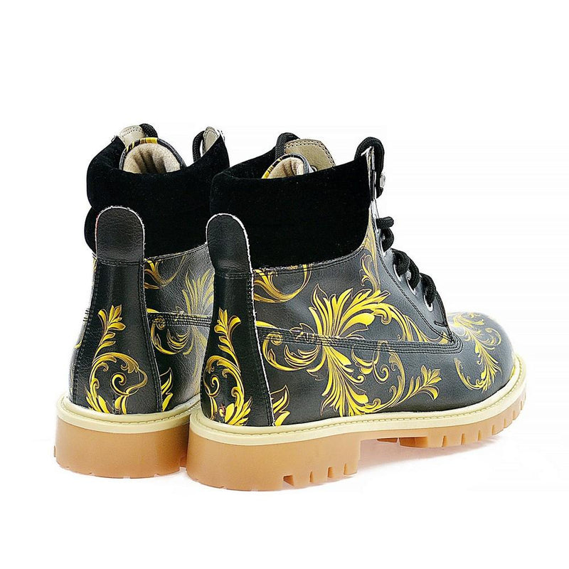 Black & Yellow Waves Short Boots ACAT102 (1329354899552)