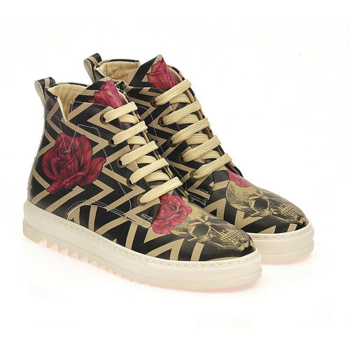With Rose Handsome Skull Short Boots ACON302
