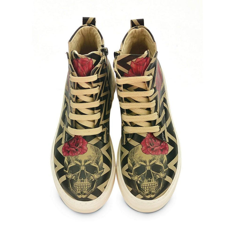With Rose Handsome Skull Short Boots ACON302 (1329355292768)