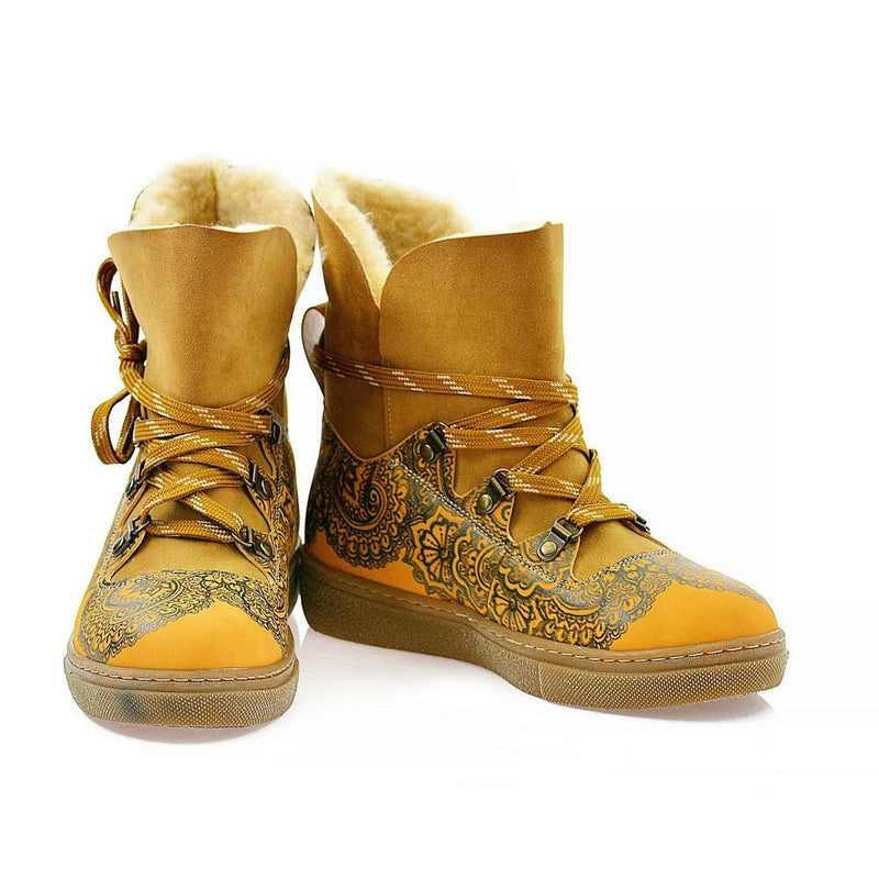 Yellow & Black Drawings in Art Short Furry Boots AGAN101 (1329355718752)