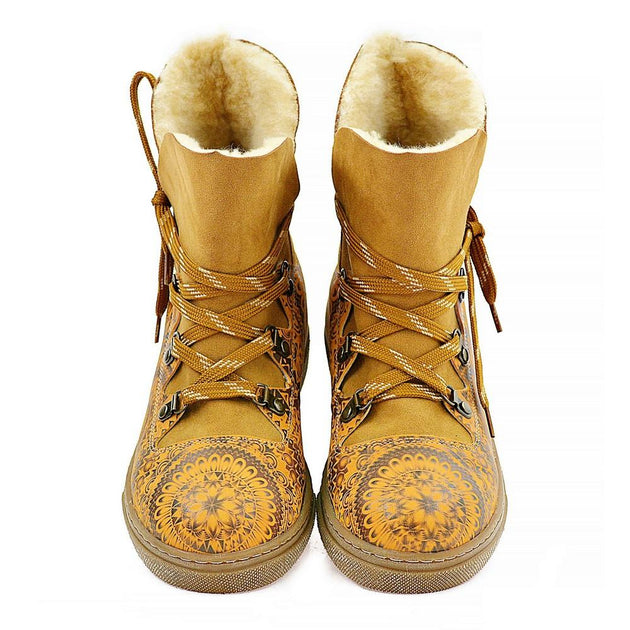 Yellow & Brown Drawings in Art Short Furry Boots AGAN104