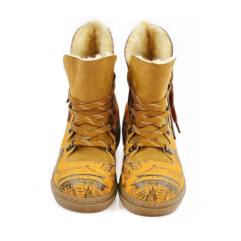 Drawing China House Short Furry Boots AGAN106 (1329355948128)