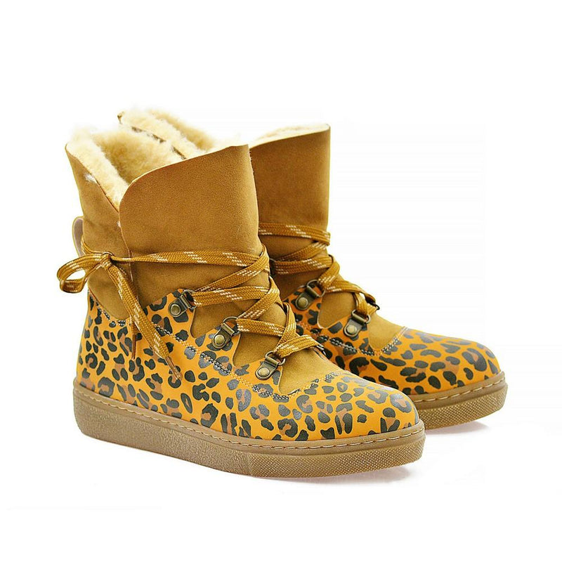 Leopard Drawings Short Furry Boots AGAN107 (1329355980896)