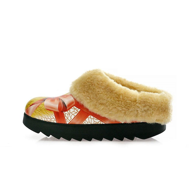 Ribbon in Present Shearling Home Shoes ALB100
