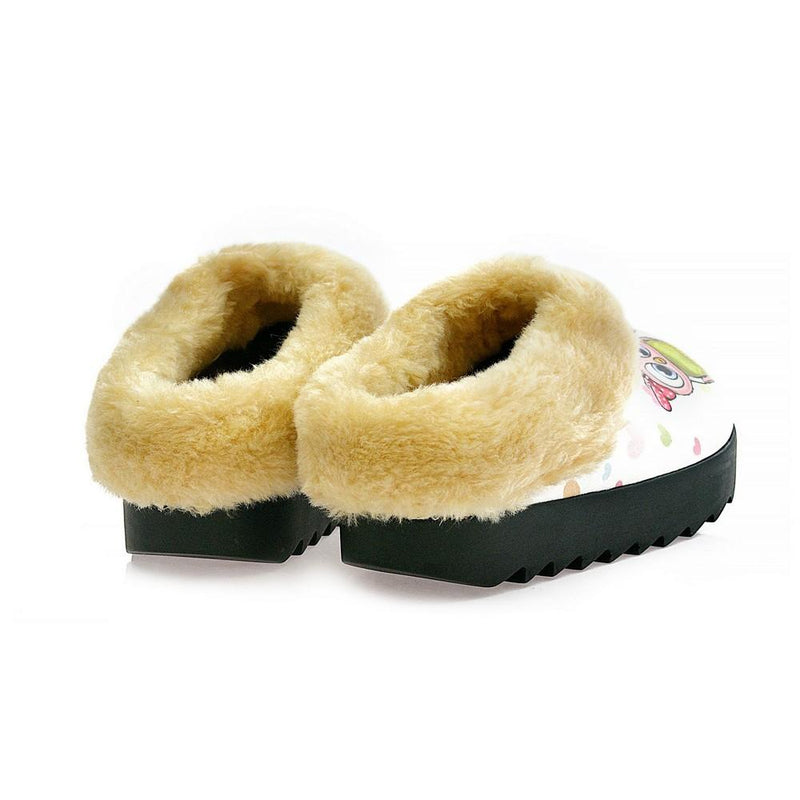 Pink & Blue Owls Shearling Home Shoes ALB101 (1329356308576)