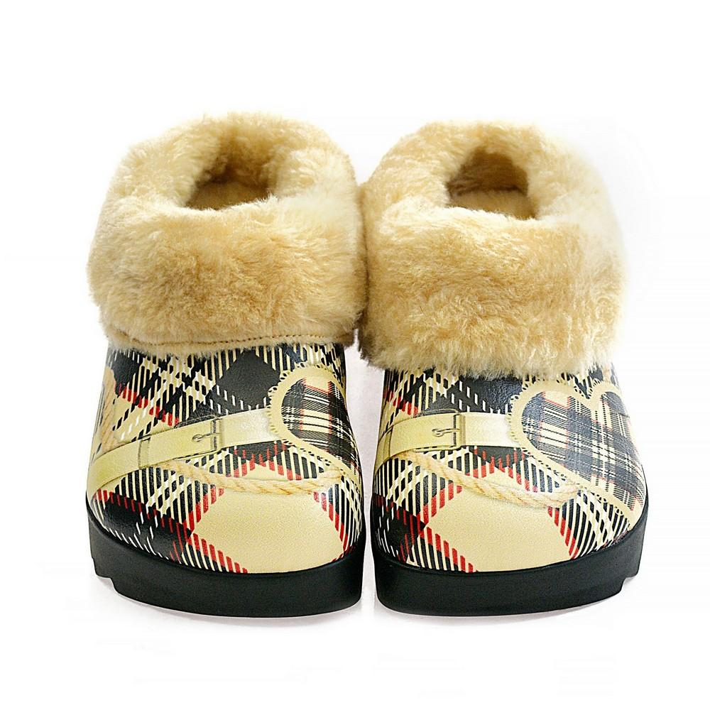 Plaid Shearling Home Shoes ALB102