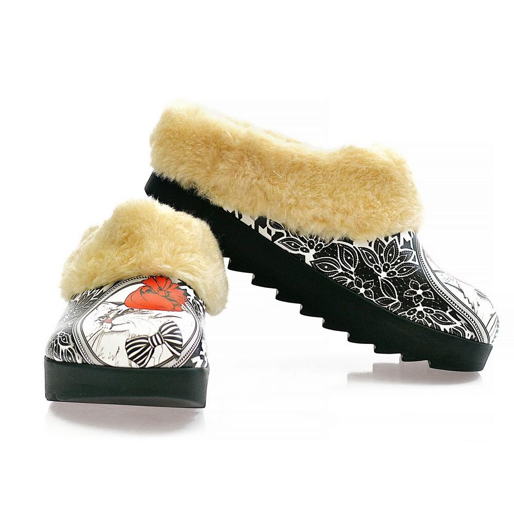 Cat With Red Hat Shearling Home Shoes ALB103, Goby, ALASKA Shearling Home Shoes