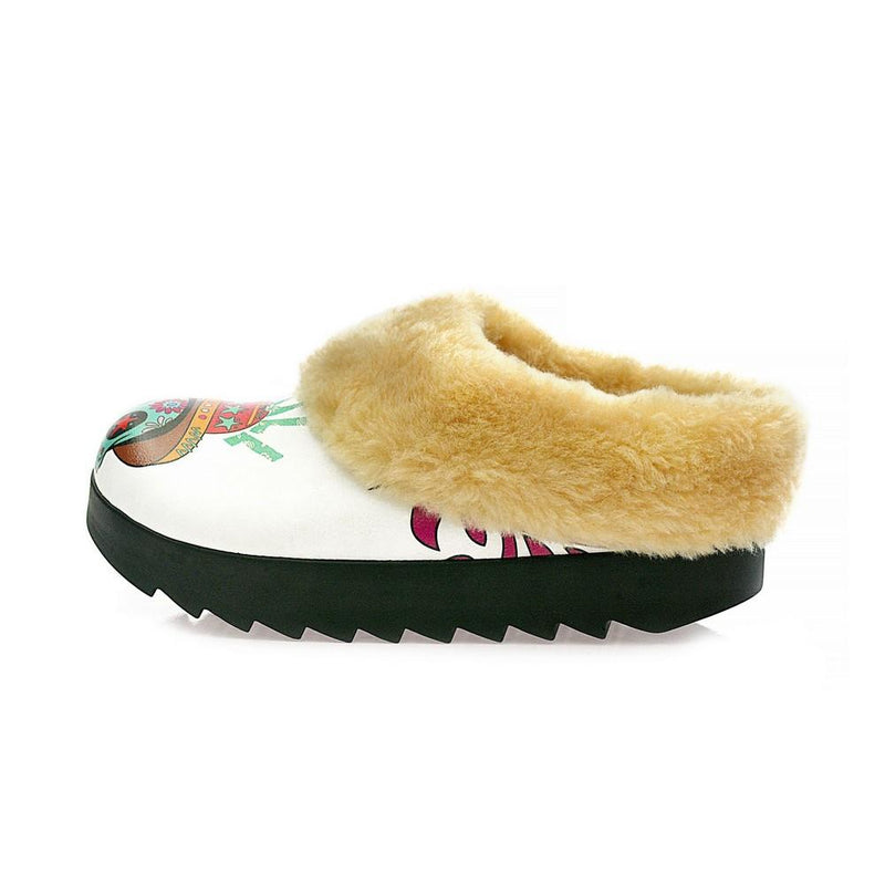 Sugar Skull Shearling Home Shoes ALB107 (1329356636256)