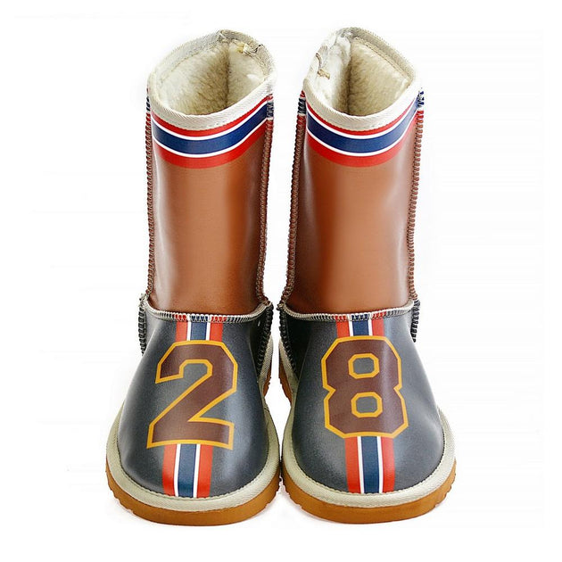 Dark Blue & Brown 28 Long Furry Boots ALG102 - Goby ALASKA Long Furry Boots