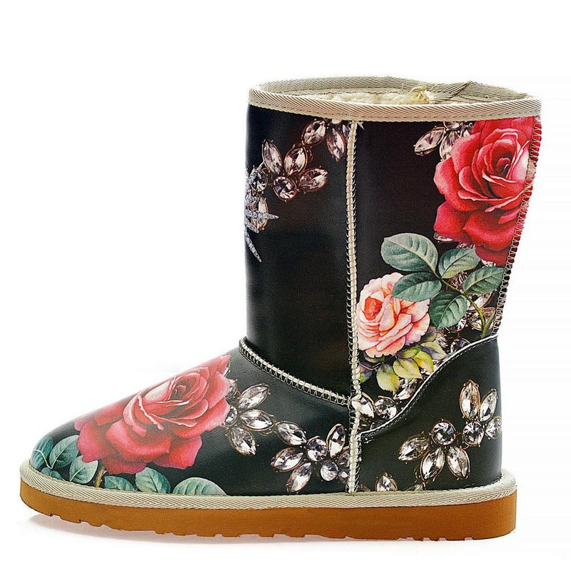 Fashion Rose Long Furry Boots ALG105 (1329357127776)