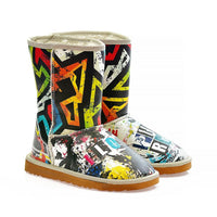 Love in Colorful Chaos Long Furry Boots ALG108 (1329357258848)
