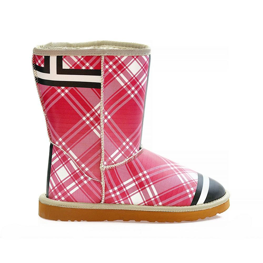 Pink & Black Plaid Long Furry Boots ALG109