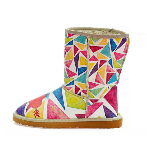 Colorful Triangels & Love Long Furry Boots ALG112 - Goby ALASKA Long Furry Boots