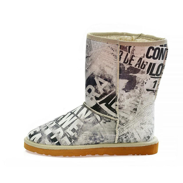 Wintage Newspaper Long Furry Boots ALG113