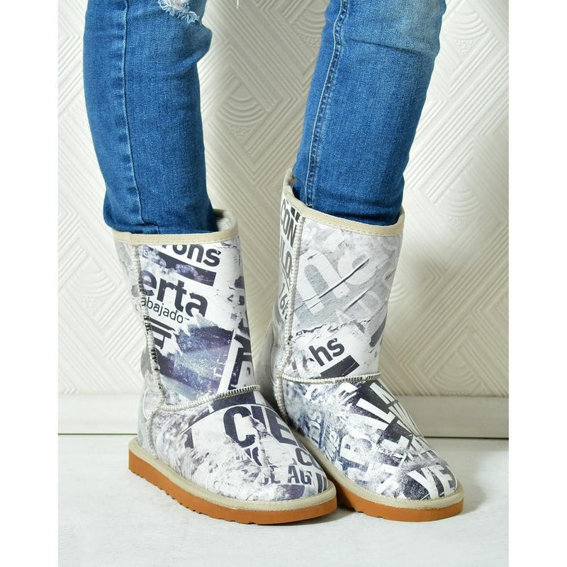 Wintage Newspaper Long Furry Boots ALG113 (1329357422688)
