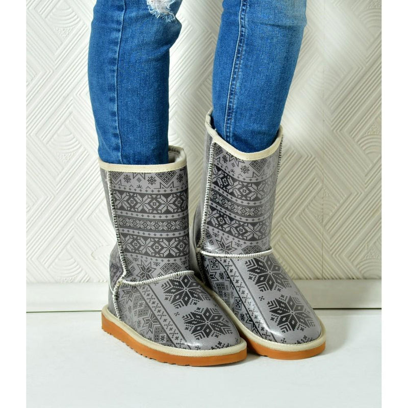Grey & Black Long Furry Boots ALG114 (1329357488224)