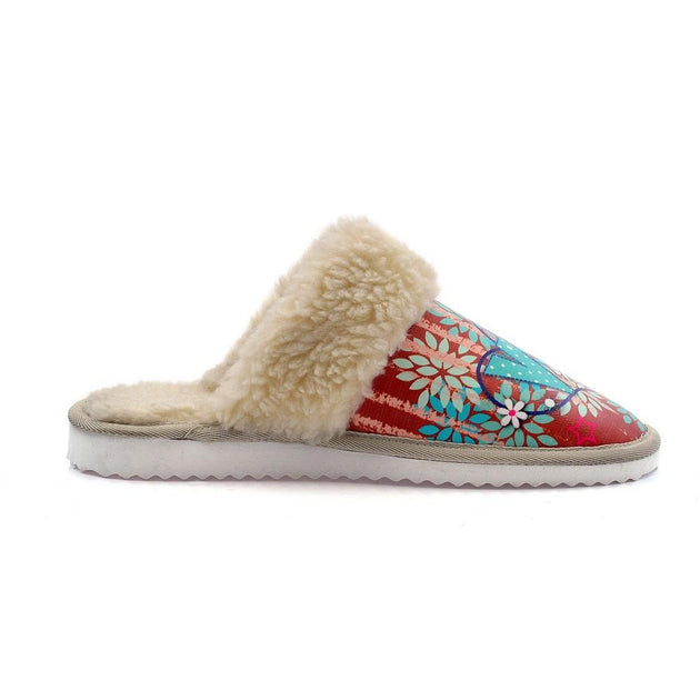 Love and Red Ribbon Shearling Slipper ALT109
