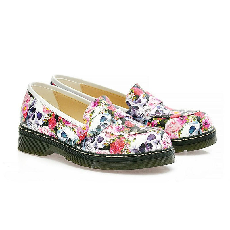 Skull Flower Garden Slip on Sneakers Shoes AMOX101 (1329358700640)