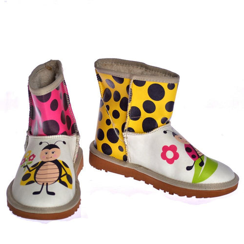 Yellow & Pink LadyBirds Short Boots AUG106