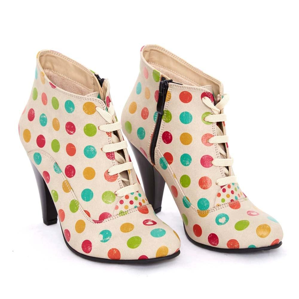 Colored Dots Ankle Boots BT301, Goby, GOBY Ankle Boots