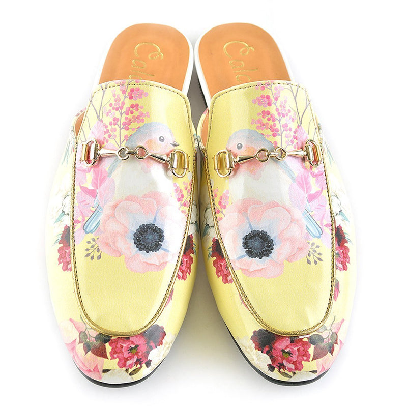 Yellow Floral Bird Slip-On Loafer CAG103 (737685504096)
