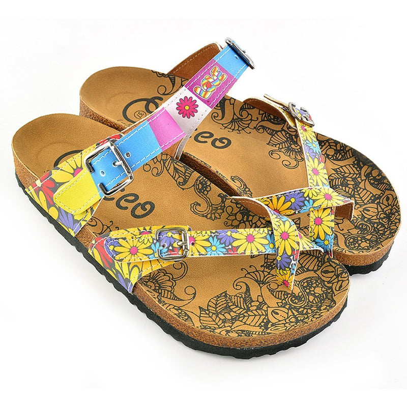 Yellow & Blue Floral Strappy Sandal CAL1002 (737685241952)