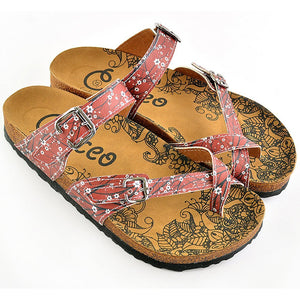 Red & White Floral Strappy Sandal CAL1003