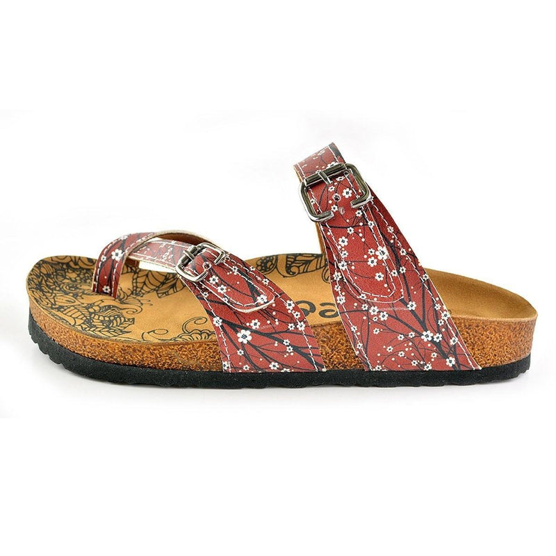 Red & White Floral Strappy Sandal CAL1003 (737685209184)