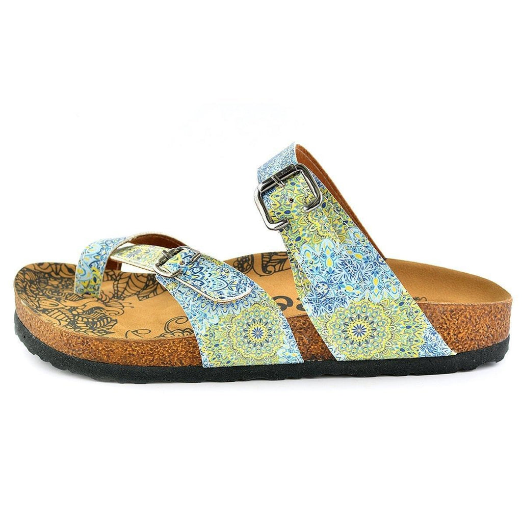 CALCEO Blue & Yellow Floral Strappy Sandal CAL1005