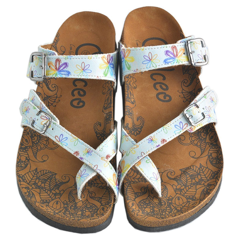 Light Blue Floral Sandal CAL1007 (737684881504)