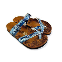 Light Blue and White, Sea Wavy Dark Blue Pattern Sandal - CAL1013 (774931382368)