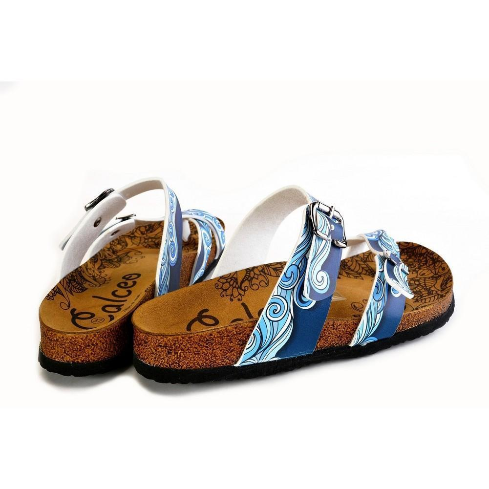 Light Blue and White, Sea Wavy Dark Blue Pattern Sandal - CAL1013