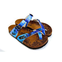 Blue, Black, Light Blue Tones and Glittering Sky Pattern Sandal - CAL1014